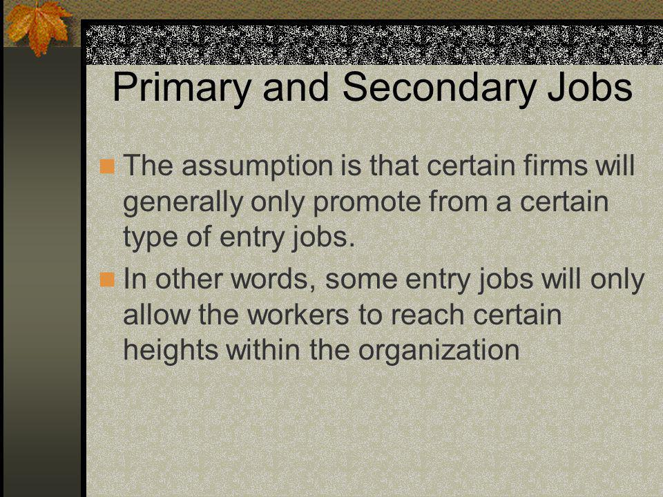Primary and Secondary Jobs The assumption is that certain firms will generally only promote from a certain type of entry jobs.