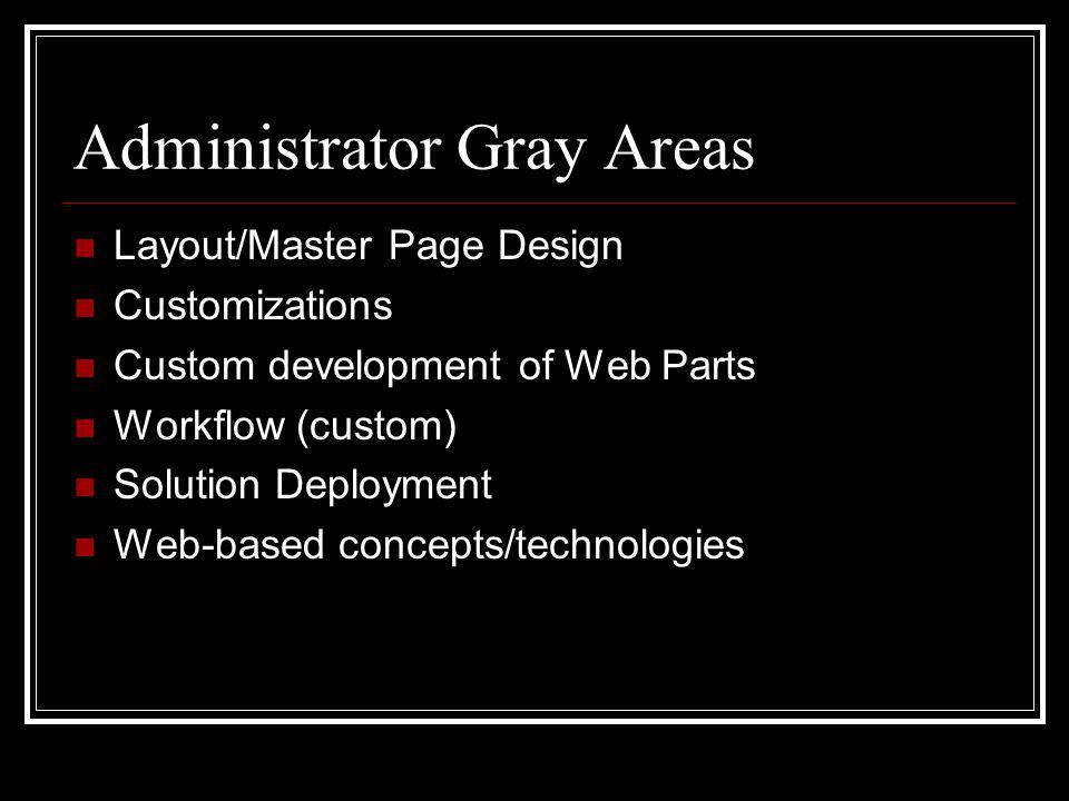 Administrator Gray Areas Layout/Master Page Design Customizations Custom development of Web Parts Workflow (custom) Solution Deployment Web-based concepts/technologies