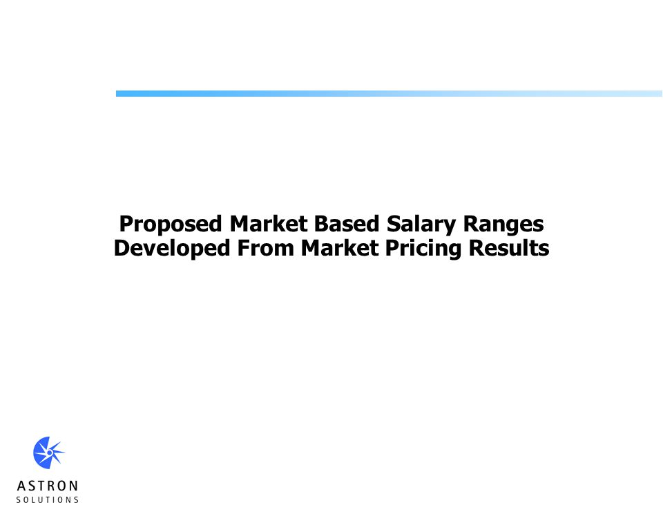 Proposed Market Based Salary Ranges Developed From Market Pricing Results