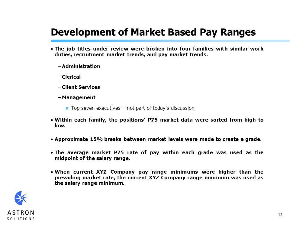 15 Development of Market Based Pay Ranges The job titles under review were broken into four families with similar work duties, recruitment market trends, and pay market trends.