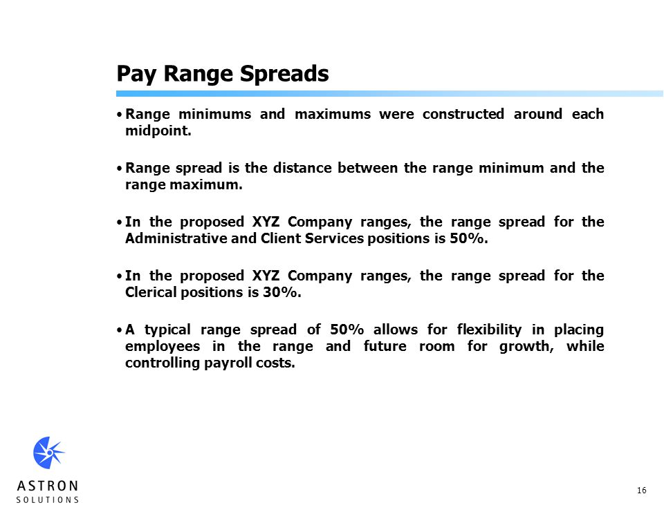 16 Pay Range Spreads Range minimums and maximums were constructed around each midpoint.