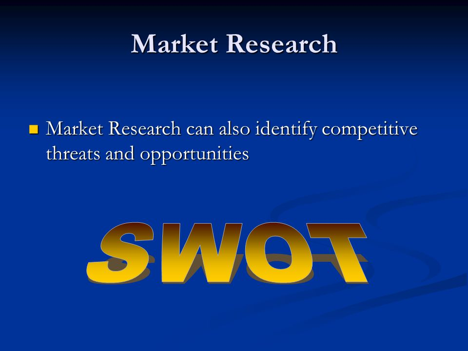 Market Research can also identify competitive threats and opportunities Market Research can also identify competitive threats and opportunities Market Research