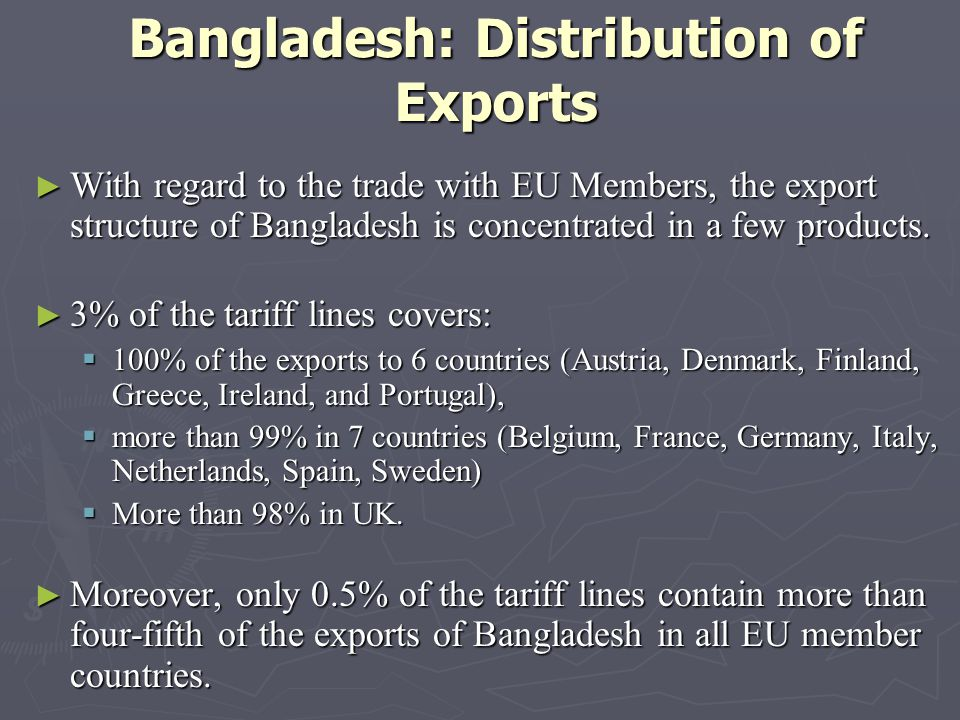 Bangladesh: Distribution of Exports With regard to the trade with EU Members, the export structure of Bangladesh is concentrated in a few products.