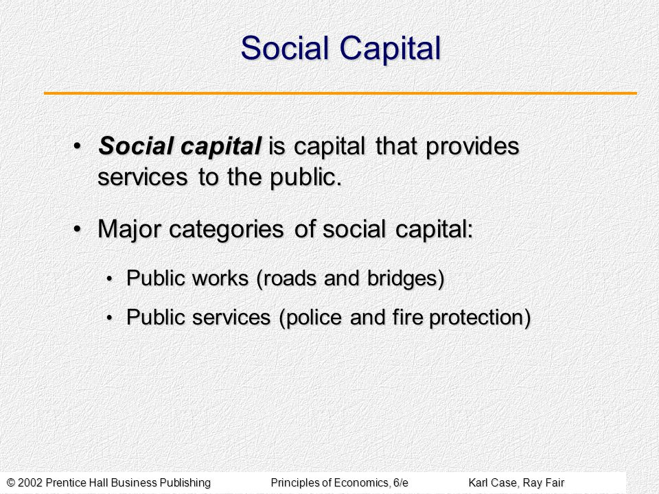 © 2002 Prentice Hall Business PublishingPrinciples of Economics, 6/eKarl Case, Ray Fair Social Capital Social capital is capital that provides services to the public.Social capital is capital that provides services to the public.