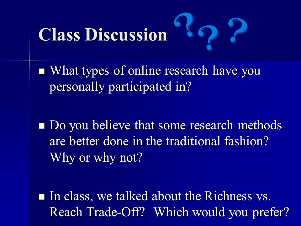 Class Discussion What types of online research have you personally participated in.