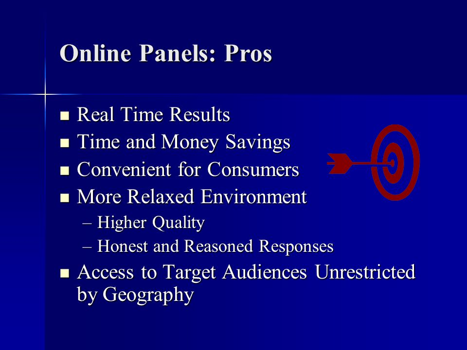 Online Panels: Pros Real Time Results Real Time Results Time and Money Savings Time and Money Savings Convenient for Consumers Convenient for Consumers More Relaxed Environment More Relaxed Environment –Higher Quality –Honest and Reasoned Responses Access to Target Audiences Unrestricted by Geography Access to Target Audiences Unrestricted by Geography