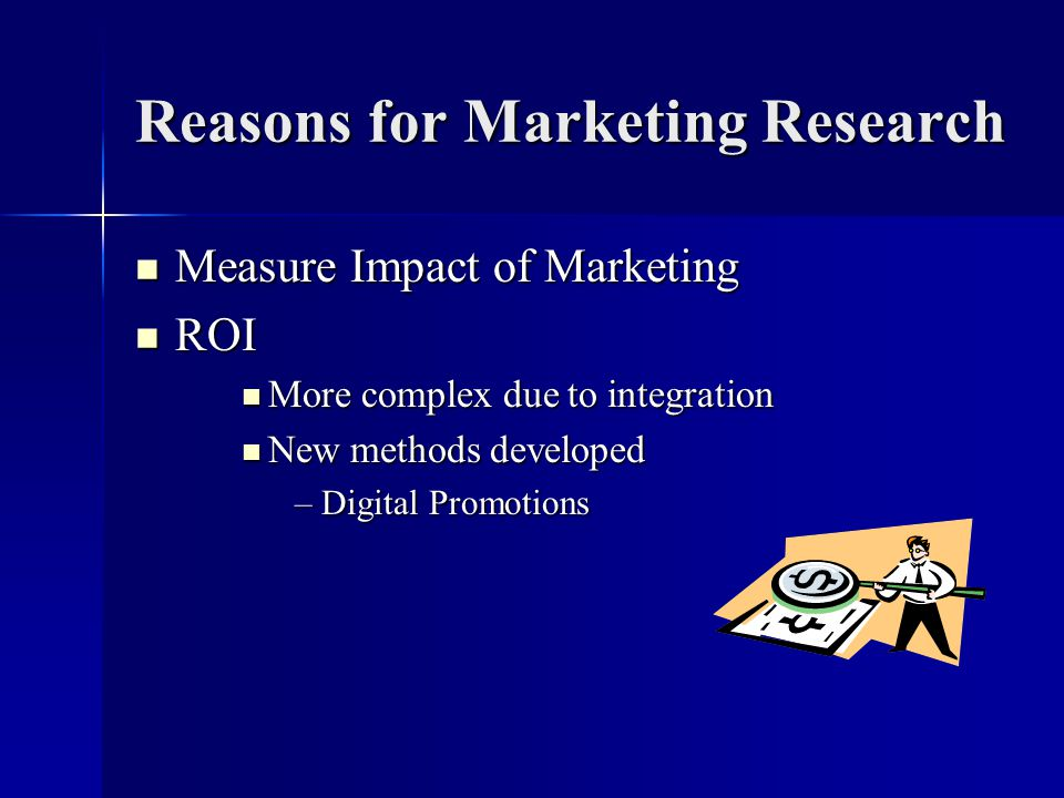 Reasons for Marketing Research Measure Impact of Marketing Measure Impact of Marketing ROI ROI More complex due to integration More complex due to integration New methods developed New methods developed –Digital Promotions