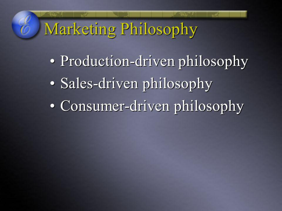 Marketing Philosophy Production-driven philosophyProduction-driven philosophy Sales-driven philosophySales-driven philosophy Consumer-driven philosophyConsumer-driven philosophy