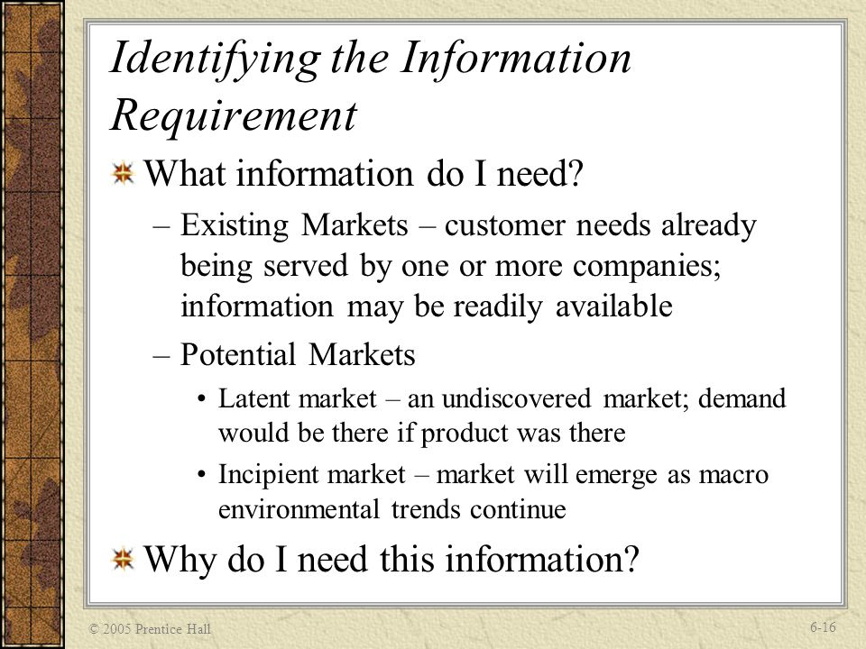 © 2005 Prentice Hall 6-16 Identifying the Information Requirement What information do I need.