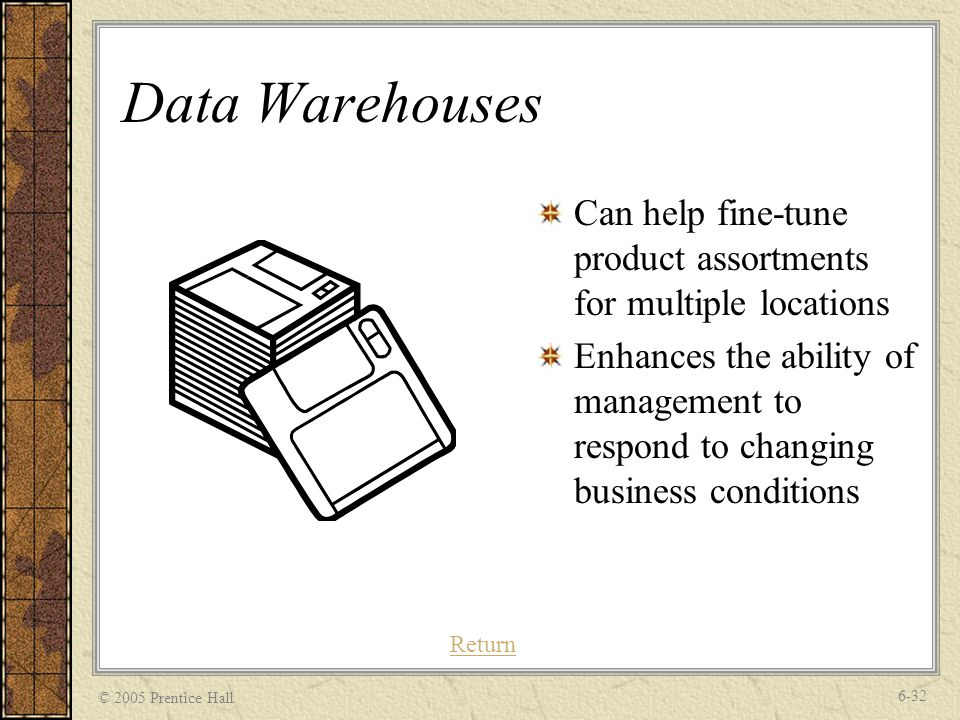 © 2005 Prentice Hall 6-32 Data Warehouses Can help fine-tune product assortments for multiple locations Enhances the ability of management to respond to changing business conditions Return