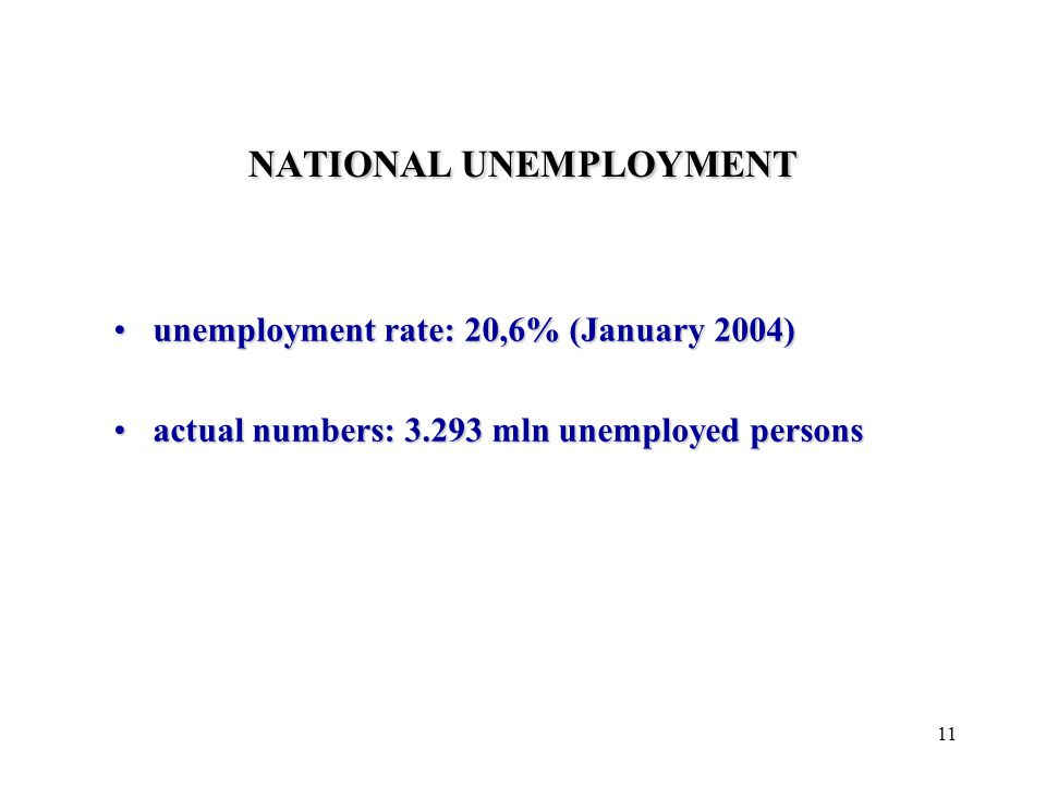 11 NATIONAL UNEMPLOYMENT unemployment rate: 20,6% (January 2004)unemployment rate: 20,6% (January 2004) actual numbers: 3.293 mln unemployed personsactual numbers: 3.293 mln unemployed persons