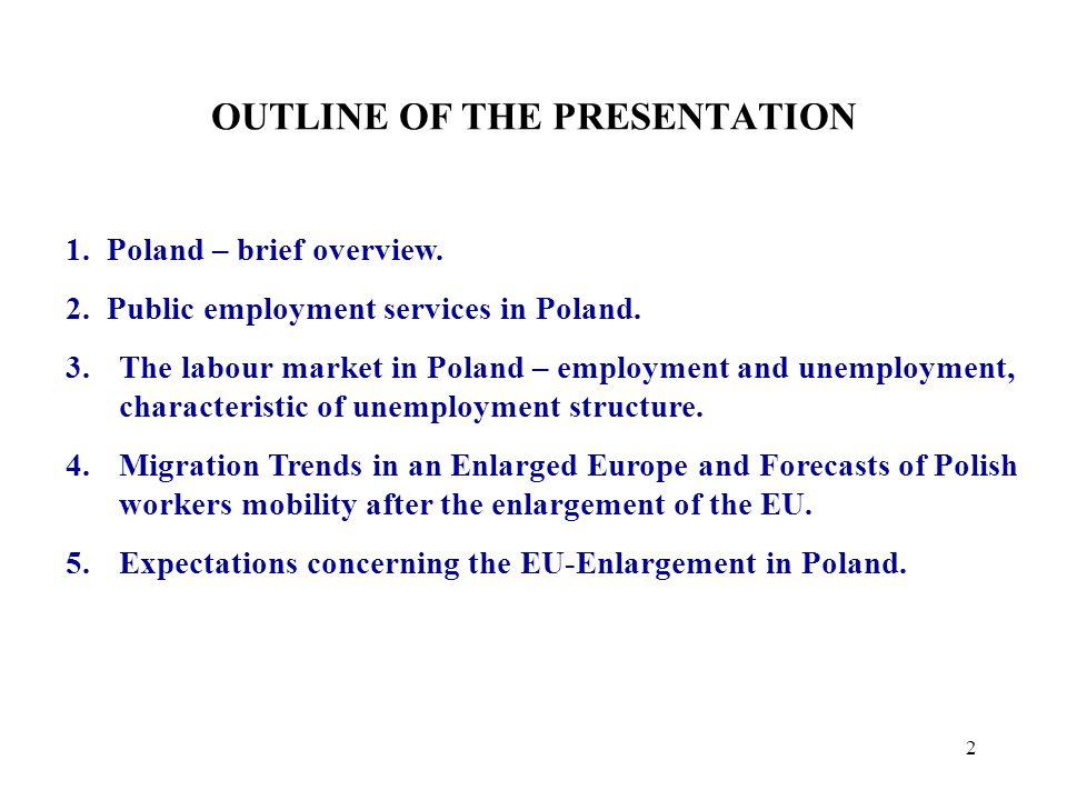 2 1. Poland – brief overview. 2. Public employment services in Poland.