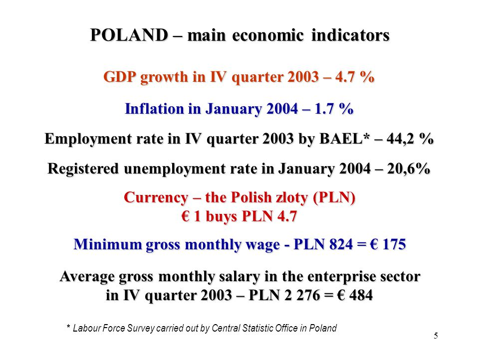 5 Average gross monthly salary in the enterprise sector in IV quarter 2003 –PLN 2 276 = 484 Average gross monthly salary in the enterprise sector in IV quarter 2003 – PLN 2 276 = 484 GDP growth in IV quarter 2003 – 4.7 % Currency –thePolish zloty (PLN)1 buys PLN 4.7 Currency – the Polish zloty (PLN) 1 buys PLN 4.7 Inflation in January 2004 – 1.7 % Employment rate in IV quarter 2003 by BAEL* – 44,2 % Registered unemployment rate in January 2004 – 20,6% Minimum gross monthly wage - PLN 824 = 175 * Labour Force Survey carried out by Central Statistic Office in Poland POLAND – main economic indicators