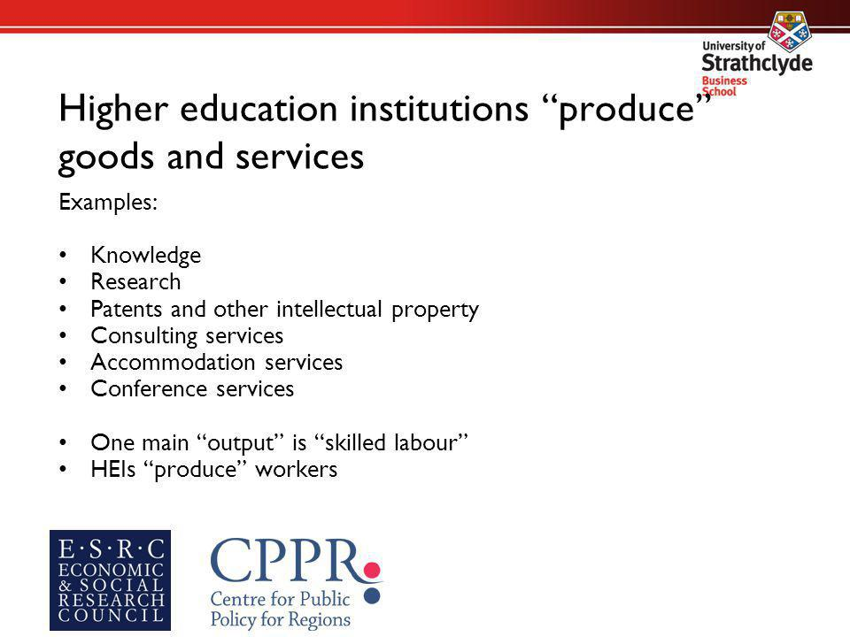 Higher education institutions produce goods and services Examples: Knowledge Research Patents and other intellectual property Consulting services Accommodation services Conference services One main output is skilled labour HEIs produce workers
