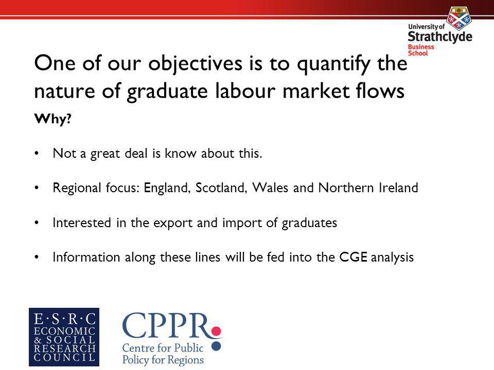 One of our objectives is to quantify the nature of graduate labour market flows Why.