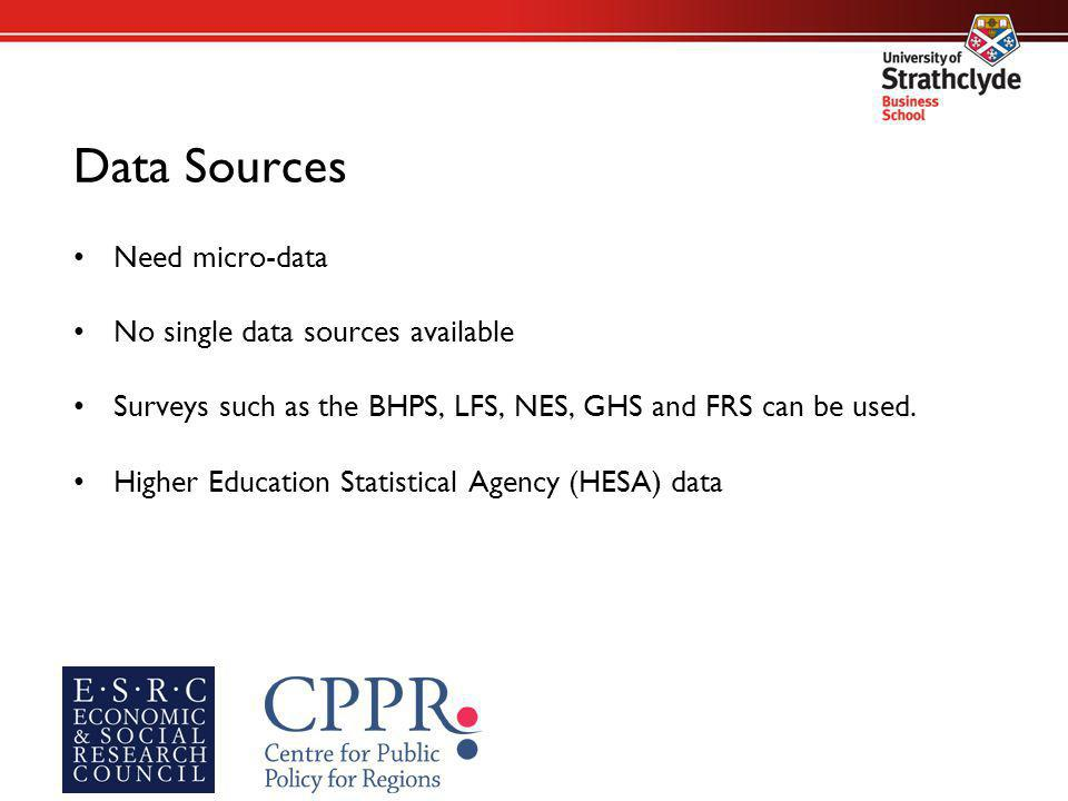 Data Sources Need micro-data No single data sources available Surveys such as the BHPS, LFS, NES, GHS and FRS can be used.