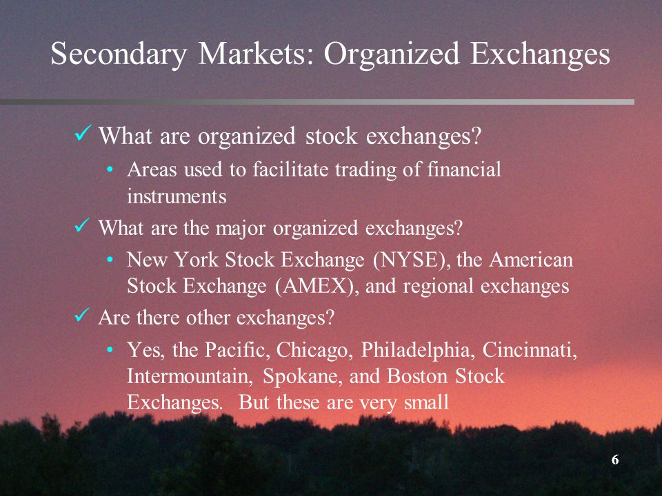 6 Secondary Markets: Organized Exchanges What are organized stock exchanges.