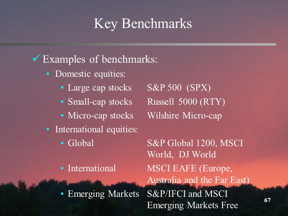 67 Key Benchmarks Examples of benchmarks: Domestic equities: Large cap stocks S&P 500 (SPX) Small-cap stocks Russell 5000 (RTY) Micro-cap stocksWilshire Micro-cap International equities: GlobalS&P Global 1200, MSCI World, DJ World International MSCI EAFE (Europe, Australia and the Far East) Emerging MarketsS&P/IFCI and MSCI Emerging Markets Free