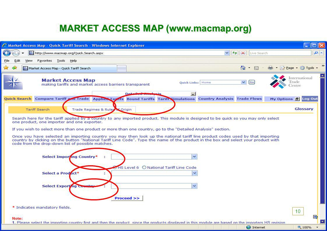 MARKET ACCESS MAP (www.macmap.org) 10