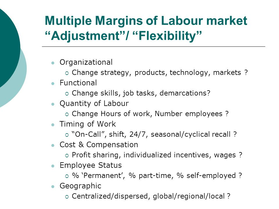 Multiple Margins of Labour market Adjustment/ Flexibility Organizational Change strategy, products, technology, markets .
