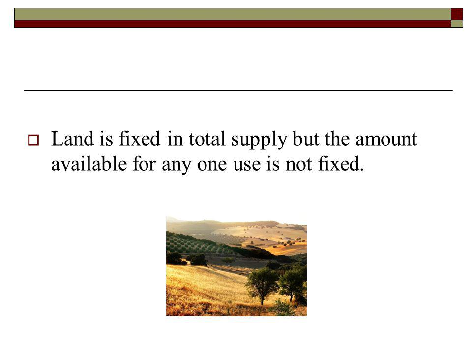 Land is fixed in total supply but the amount available for any one use is not fixed.