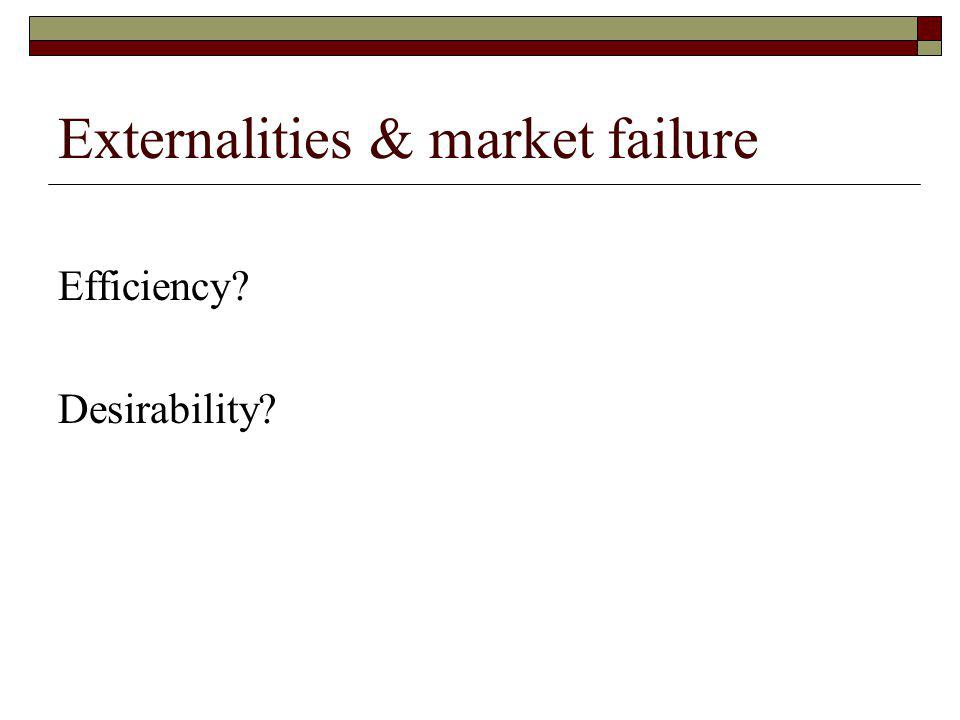 Externalities & market failure Efficiency Desirability
