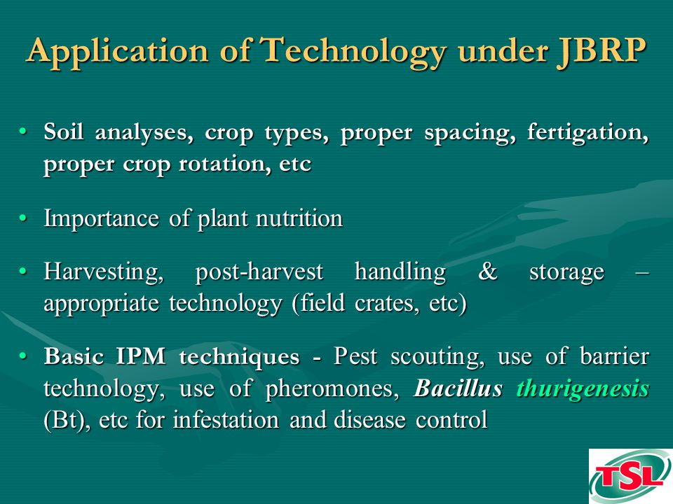 Application of Technology under JBRP Soil analyses, crop types, proper spacing, fertigation, proper crop rotation, etcSoil analyses, crop types, proper spacing, fertigation, proper crop rotation, etc Importance of plant nutritionImportance of plant nutrition Harvesting, post-harvest handling & storage – appropriate technology (field crates, etc)Harvesting, post-harvest handling & storage – appropriate technology (field crates, etc) Basic IPM techniques - Pest scouting, use of barrier technology, use of pheromones, Bacillus thurigenesis (Bt), etc for infestation and disease controlBasic IPM techniques - Pest scouting, use of barrier technology, use of pheromones, Bacillus thurigenesis (Bt), etc for infestation and disease control