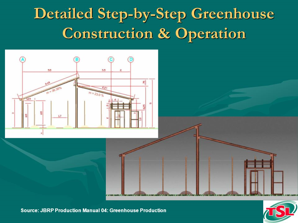Detailed Step-by-Step Greenhouse Construction & Operation Source: JBRP Production Manual 04: Greenhouse Production