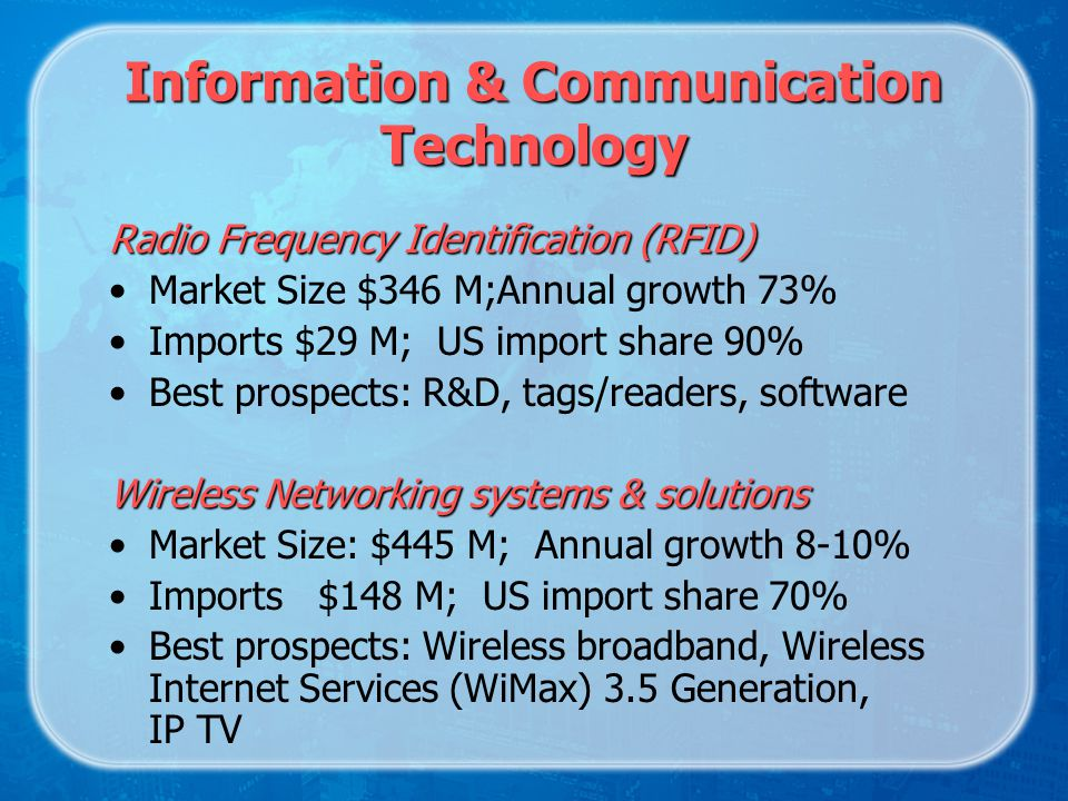 Radio Frequency Identification (RFID) Market Size $346 M;Annual growth 73% Imports $29 M; US import share 90% Best prospects: R&D, tags/readers, software Wireless Networking systems & solutions Market Size: $445 M; Annual growth 8-10% Imports $148 M; US import share 70% Best prospects: Wireless broadband, Wireless Internet Services (WiMax) 3.5 Generation, IP TV Information & Communication Technology