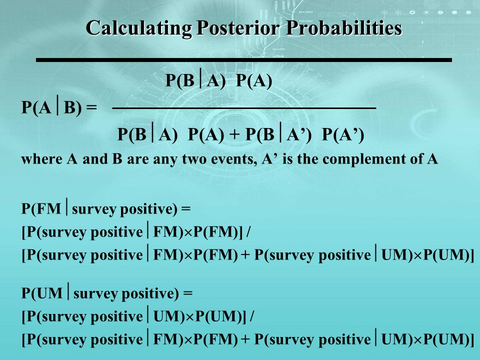 Calculating Posterior Probabilities P(B A) P(A) P(A B) = P(B A) P(A) + P(B A) P(A) where A and B are any two events, A is the complement of A P(FM survey positive) = [P(survey positive FM) P(FM)] / [P(survey positive FM) P(FM) + P(survey positive UM) P(UM)] P(UM survey positive) = [P(survey positive UM) P(UM)] / [P(survey positive FM) P(FM) + P(survey positive UM) P(UM)]