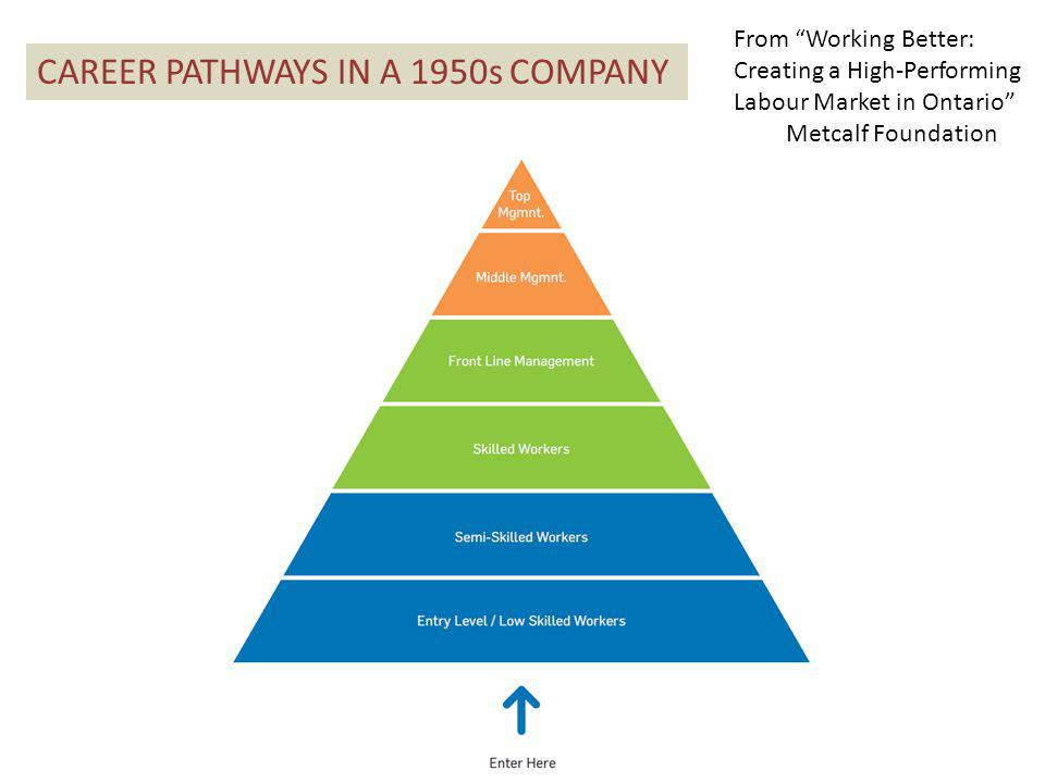 CAREER PATHWAYS IN A 1950s COMPANY From Working Better: Creating a High-Performing Labour Market in Ontario Metcalf Foundation