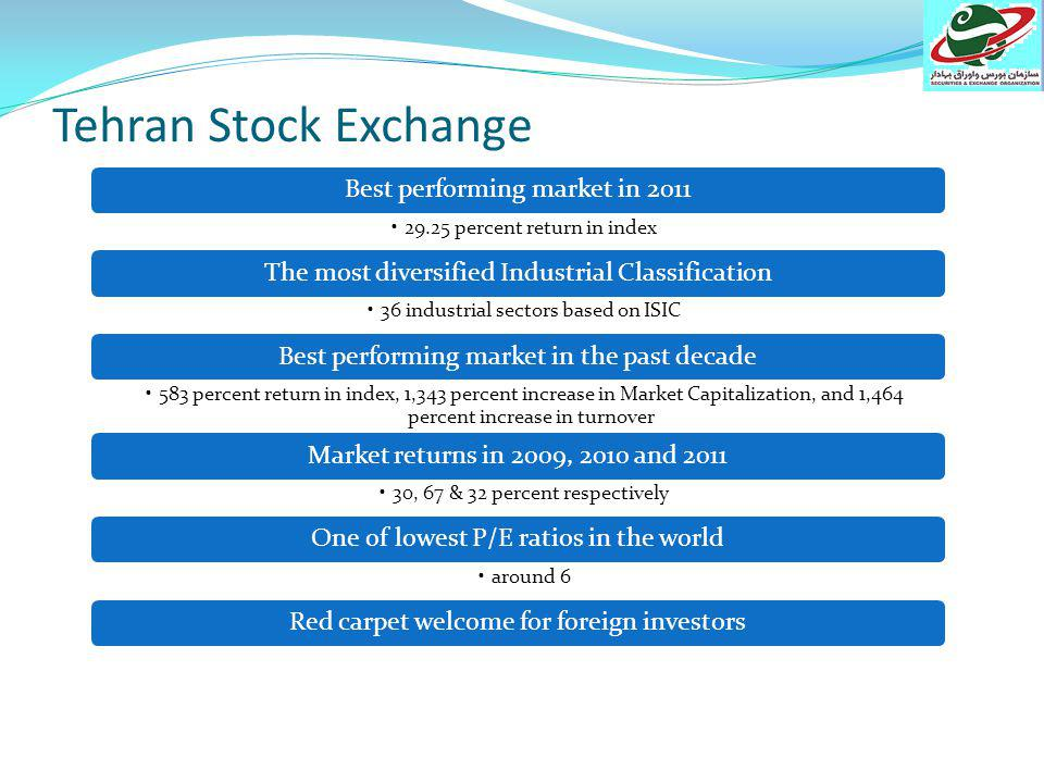Tehran Stock Exchange & Iran Farabourse Date of establishment: 1967 & 2009 Markets: Main Board (A&B) Secondary Board # of Listed Companies: 339 & 32# of Brokers: 87Main indices: TSE all share price (TEPIX) Industrial index Financial index TSE - 50 Clearing & settlement: T + 3