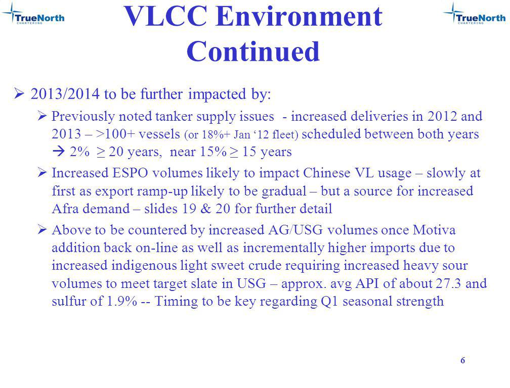 VLCC Environment Continued 2013/2014 to be further impacted by: Previously noted tanker supply issues - increased deliveries in 2012 and 2013 – >100+ vessels (or 18%+ Jan 12 fleet) scheduled between both years 2% 20 years, near 15% 15 years Increased ESPO volumes likely to impact Chinese VL usage – slowly at first as export ramp-up likely to be gradual – but a source for increased Afra demand – slides 19 & 20 for further detail Above to be countered by increased AG/USG volumes once Motiva addition back on-line as well as incrementally higher imports due to increased indigenous light sweet crude requiring increased heavy sour volumes to meet target slate in USG – approx.