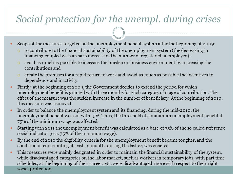Social protection for the unempl.