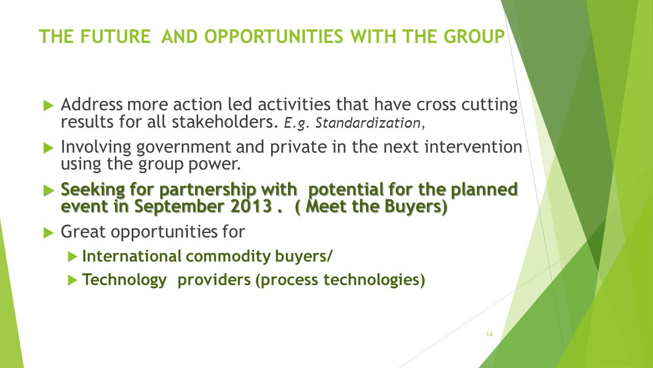 THE FUTURE AND OPPORTUNITIES WITH THE GROUP Address more action led activities that have cross cutting results for all stakeholders.