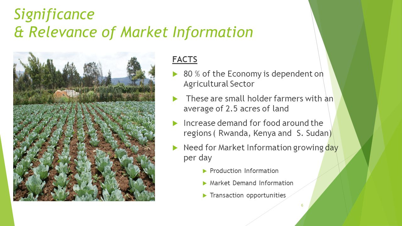 Significance & Relevance of Market Information FACTS 80 % of the Economy is dependent on Agricultural Sector These are small holder farmers with an average of 2.5 acres of land Increase demand for food around the regions ( Rwanda, Kenya and S.