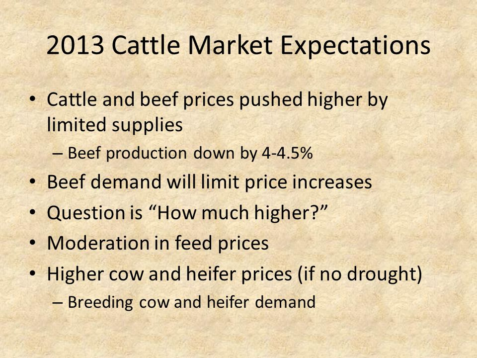 2013 Cattle Market Expectations Cattle and beef prices pushed higher by limited supplies – Beef production down by 4-4.5% Beef demand will limit price increases Question is How much higher.