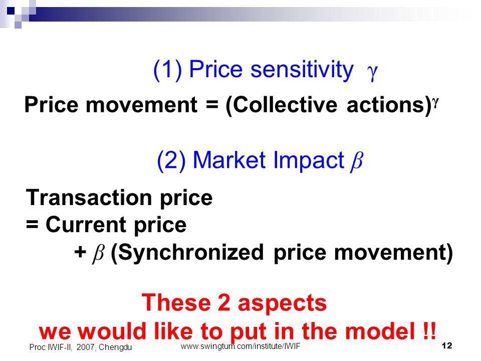 www.swingtum.com/institute/IWIF12 Proc IWIF-II, 2007, Chengdu Price movement = (Collective actions) γ (1) Price sensitivity γ Transaction price = Current price + β (Synchronized price movement) (2) Market Impact β These 2 aspects we would like to put in the model !!