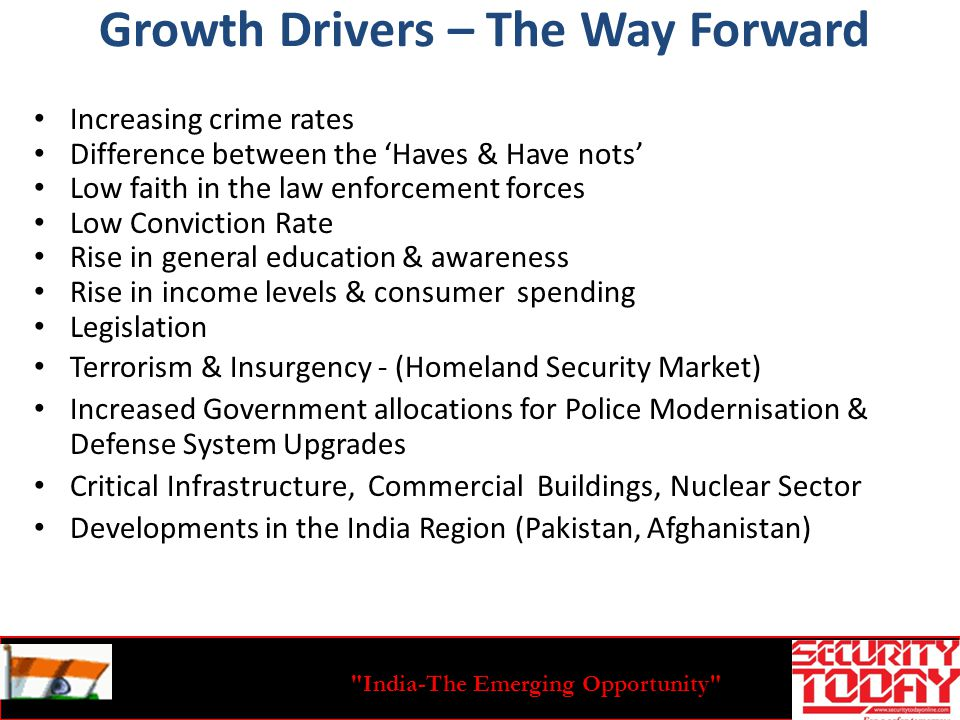 India-The Emerging Opportunity Growth Drivers – The Way Forward Increasing crime rates Difference between the Haves & Have nots Low faith in the law enforcement forces Low Conviction Rate Rise in general education & awareness Rise in income levels & consumer spending Legislation Terrorism & Insurgency - (Homeland Security Market) Increased Government allocations for Police Modernisation & Defense System Upgrades Critical Infrastructure, Commercial Buildings, Nuclear Sector Developments in the India Region (Pakistan, Afghanistan)