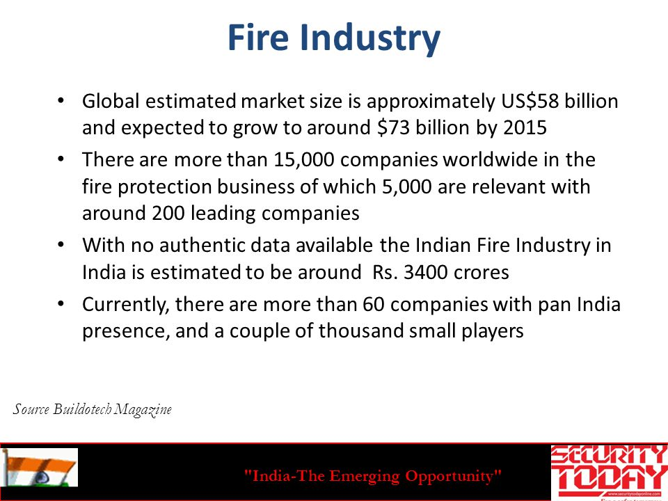 India-The Emerging Opportunity Fire Industry Global estimated market size is approximately US$58 billion and expected to grow to around $73 billion by 2015 There are more than 15,000 companies worldwide in the fire protection business of which 5,000 are relevant with around 200 leading companies With no authentic data available the Indian Fire Industry in India is estimated to be around Rs.
