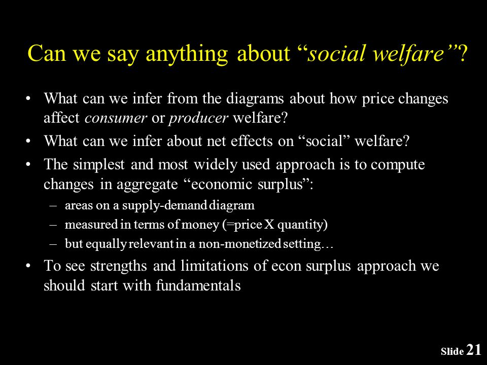 Slide 21 Can we say anything about social welfare.