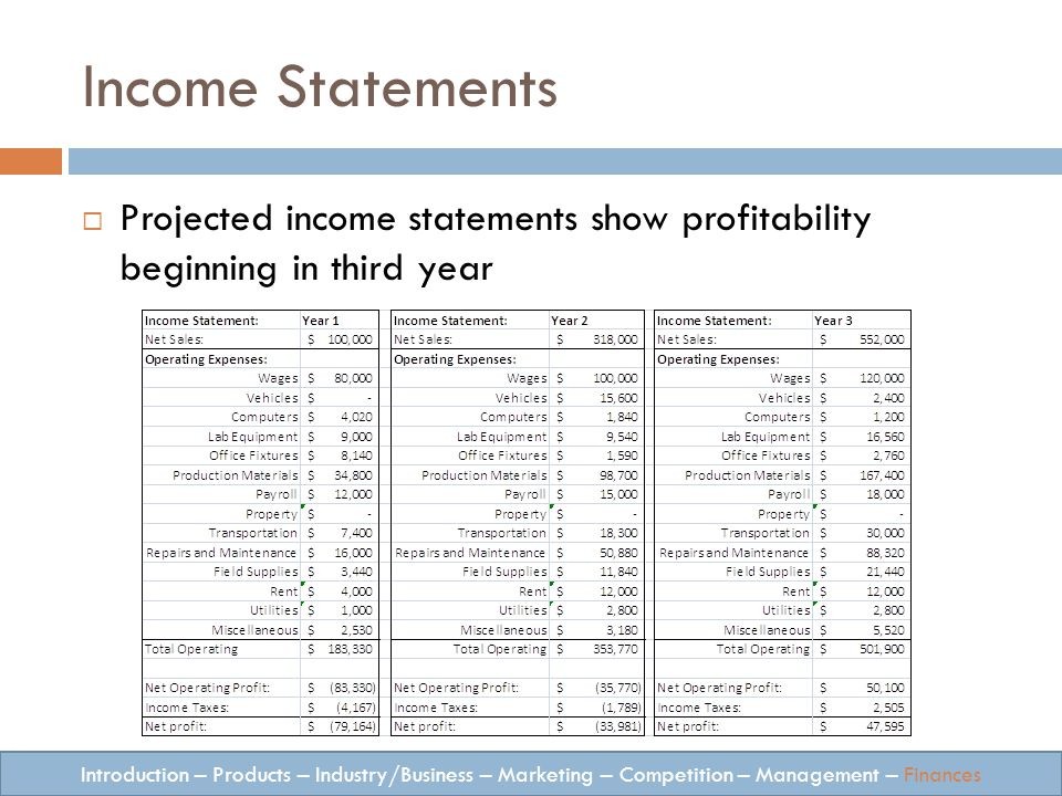 Income Statements Introduction – Products – Industry/Business – Marketing – Competition – Management – Finances Projected income statements show profitability beginning in third year