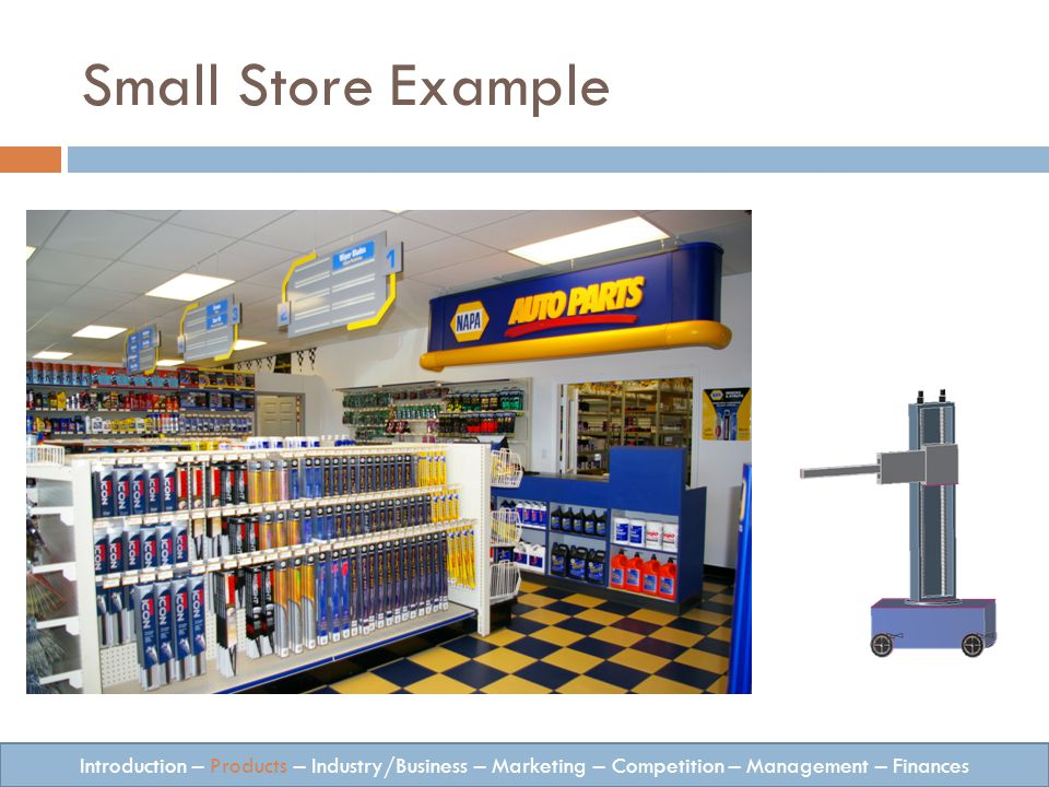 Small Store Example Introduction – Products – Industry/Business – Marketing – Competition – Management – Finances