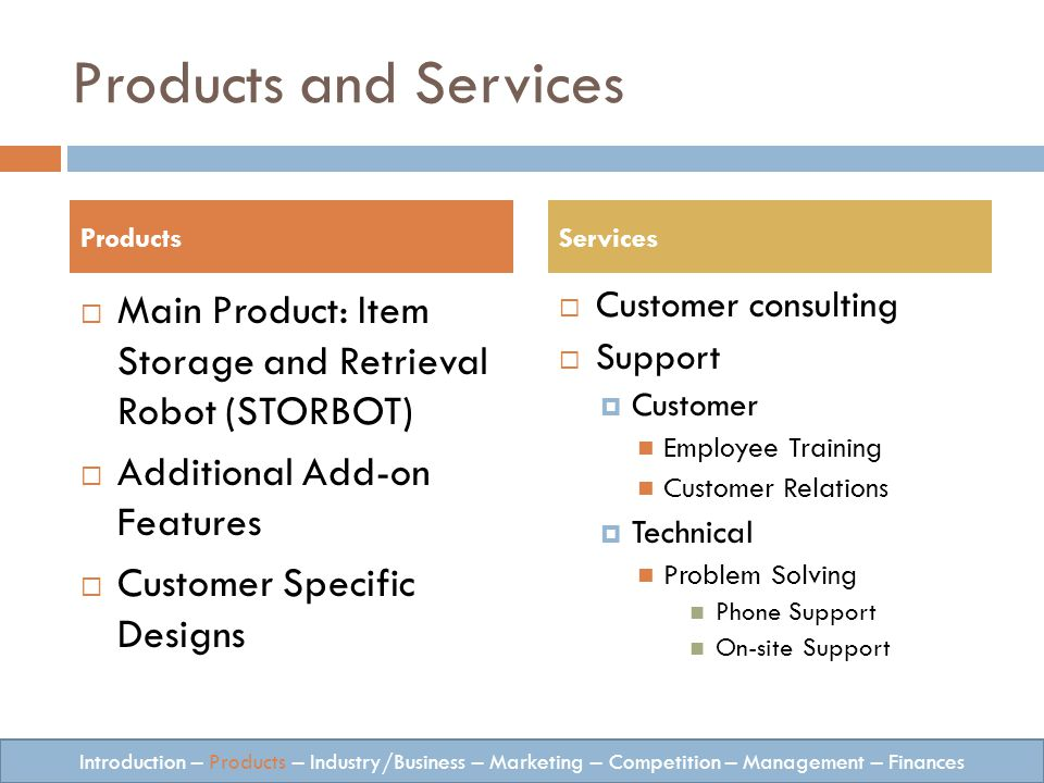 Products and Services Main Product: Item Storage and Retrieval Robot (STORBOT) Additional Add-on Features Customer Specific Designs Customer consulting Support Customer Employee Training Customer Relations Technical Problem Solving Phone Support On-site Support ProductsServices Introduction – Products – Industry/Business – Marketing – Competition – Management – Finances