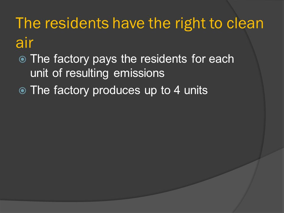 The residents have the right to clean air The factory pays the residents for each unit of resulting emissions The factory produces up to 4 units