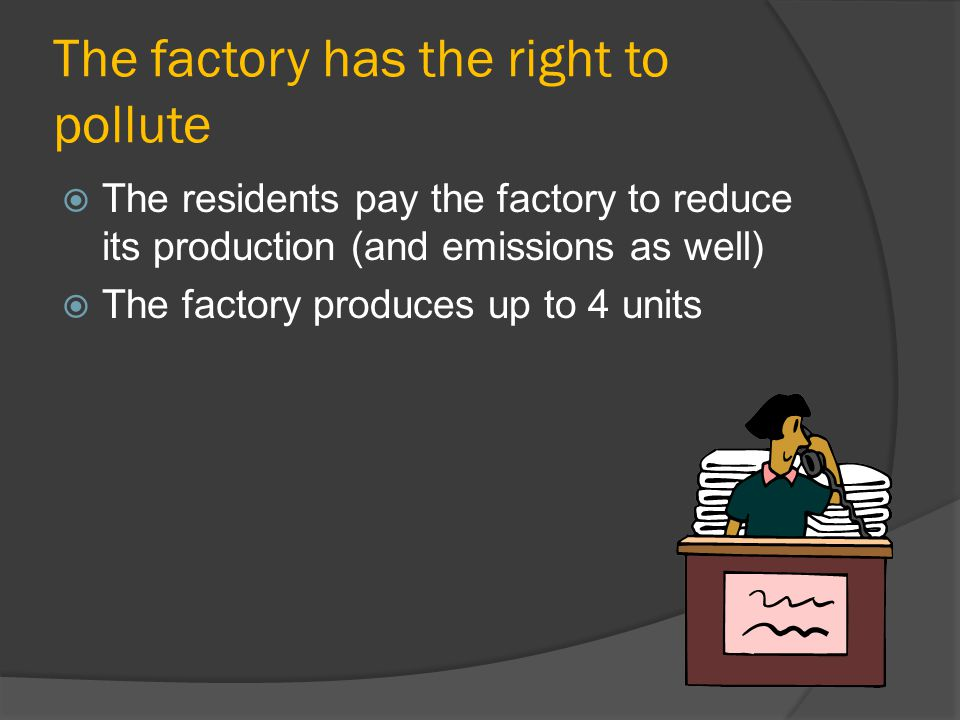 The factory has the right to pollute The residents pay the factory to reduce its production (and emissions as well) The factory produces up to 4 units