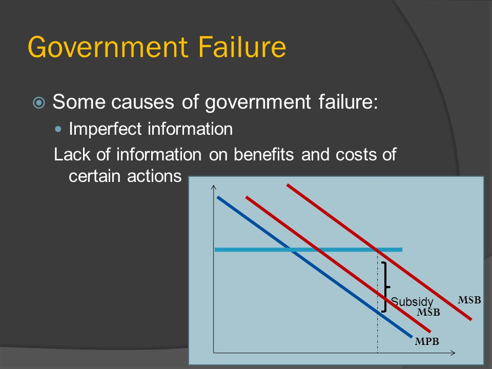 Government Failure Some causes of government failure: Imperfect information Lack of information on benefits and costs of certain actions MPB MSB Subsidy MSB