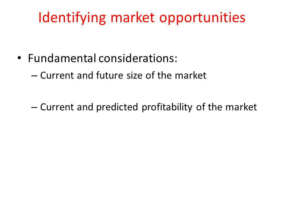 Identifying market opportunities Fundamental considerations: – Current and future size of the market – Current and predicted profitability of the market
