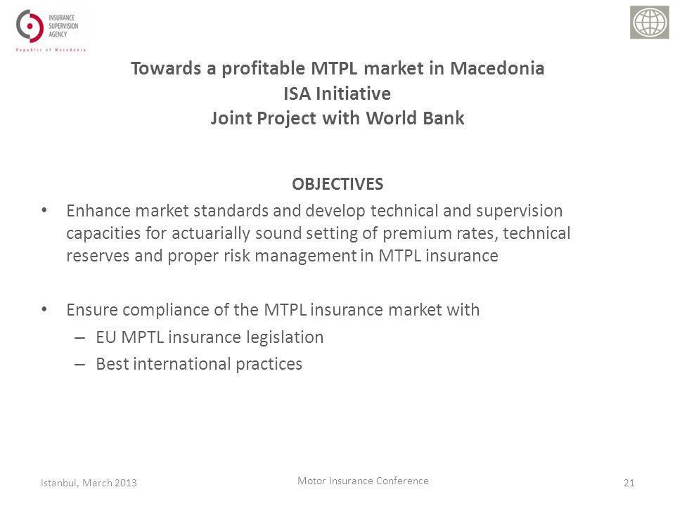 Towards a profitable MTPL market in Macedonia ISA Initiative Joint Project with World Bank OBJECTIVES Enhance market standards and develop technical and supervision capacities for actuarially sound setting of premium rates, technical reserves and proper risk management in MTPL insurance Ensure compliance of the MTPL insurance market with – EU MPTL insurance legislation – Best international practices 21Istanbul, March 2013 Motor Insurance Conference