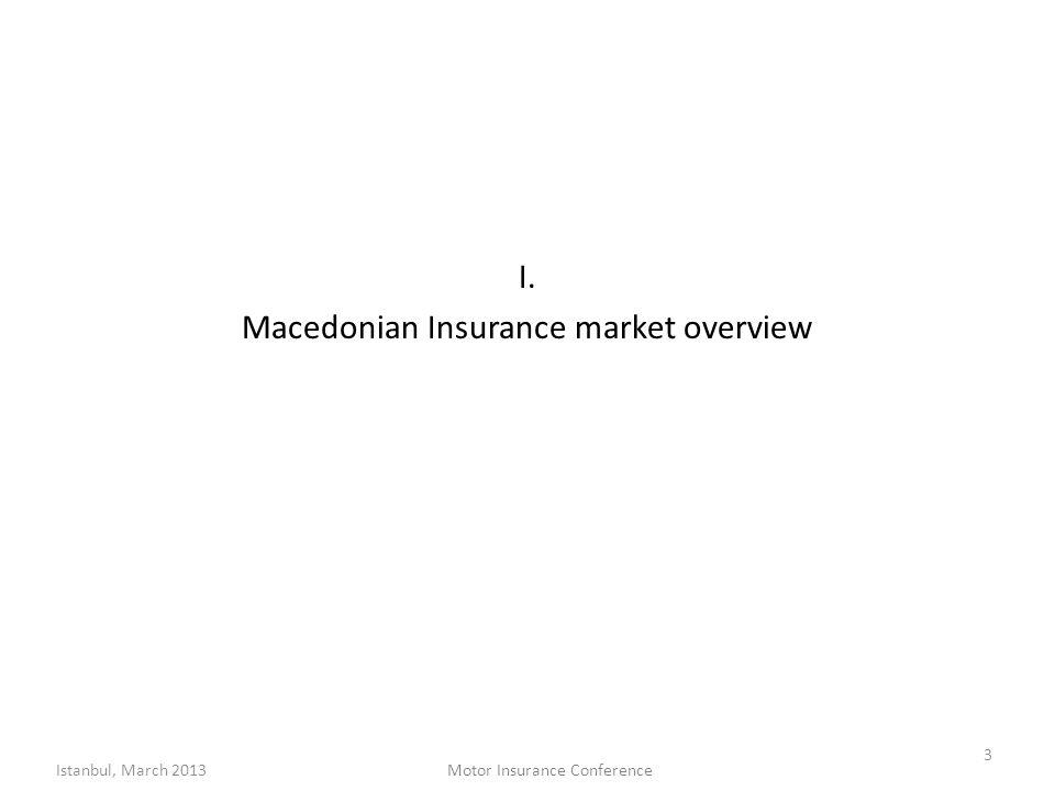 I. Macedonian Insurance market overview 3 Istanbul, March 2013Motor Insurance Conference